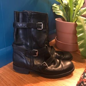 J Crew Black leather motorcycle boots